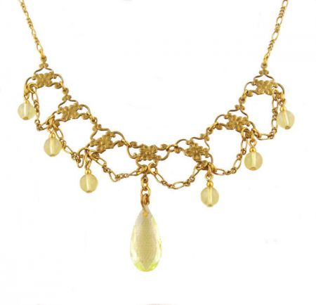 Victorian Style Peridot Colored Bead & Vaseline Glass Festoon Necklace