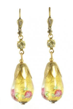 Vintage Venetian Gold Foil Glass Bead & Rhinestone Dangle Earrings