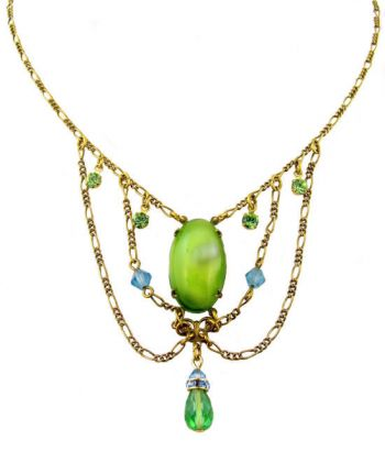 Victorian Style Green Satin Glass & Crystal Festoon Necklace