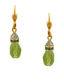 Vintage Style Swarovski Austrian Peridot & Blue Topaz Crystal Drop Earrings