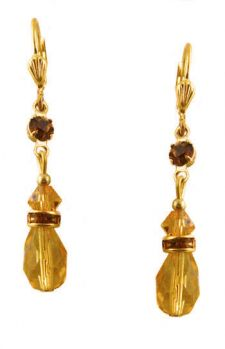 Vintage Style Swarovski Austrian Golden Topaz & Cognac Crystal Drop Earrings