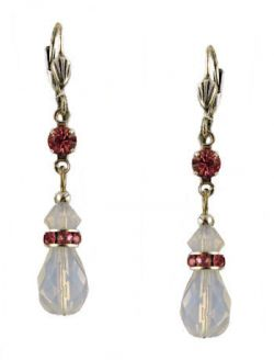 Vintage Style Swarovski Austrian White Opal & Fuchsia Crystal Drop Earrings