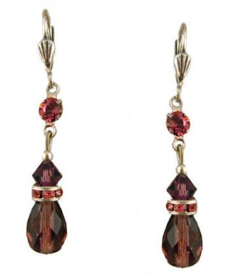 Vintage Style Swarovski Austrian Amethyst & Fuschia Crystal Drop Earrings