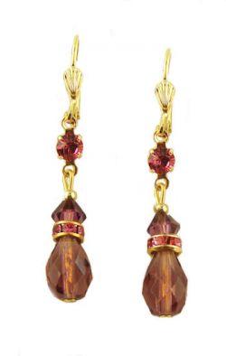 Vintage Style Swarovski Austrian Amethyst & Pink Crystal Drop Earrings
