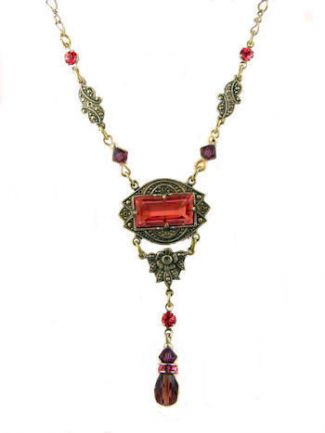 Art Deco Style Pink Stone & Amethyst Crystal Lavaliere Necklace