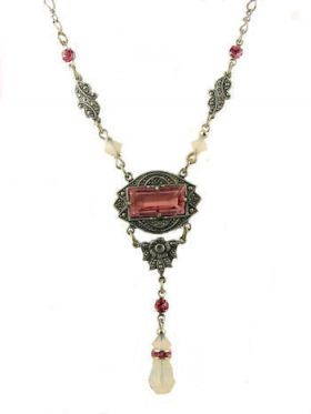 Art Deco Style Pink Colored Stone & Crystal Lavaliere Necklace