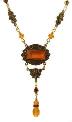 Art Deco Style Golden Topaz Colored Stone & Crystal Lavaliere Necklace