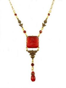 Art Deco Style Ruby Red Pressed Glass Cameo & Crystal Drop Lavaliere Necklace