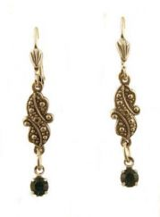 Vintage Style Emerald Green Austrian Crystal Scroll Drop Earrings