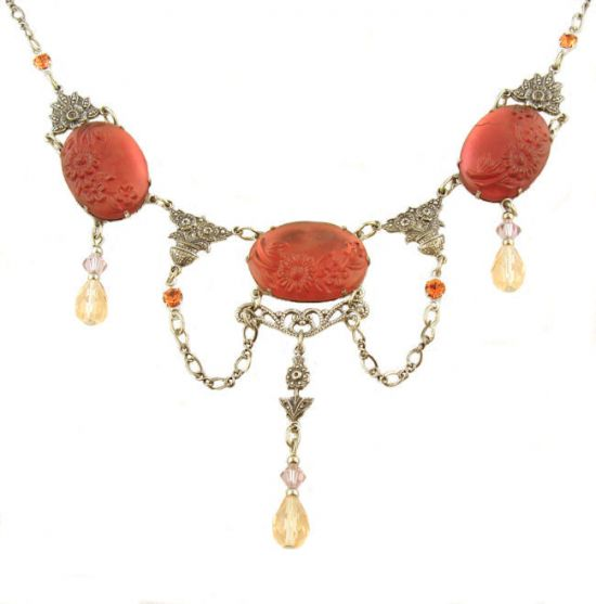 Victorian Style Floral Pressed Red Glass & Crystal Festoon Necklace