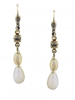 Vintage Style MOP & Swarovski White Opal Crystal Drop Earrings