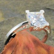 Vintage Style Sterling Silver Square Shaped Scroll Designed Solitaire Ring Setting