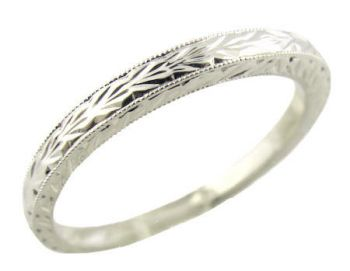 14k White Gold Art Deco Style Hand Engraved 2.0mm Wide Wedding Band
