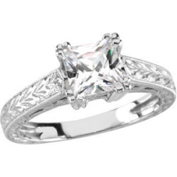 14k White Gold Art Deco Style Engraved 6x6mm Princess Shaped Engagement Ring Setting
