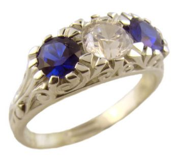 Victorian Style Sterling Silver Filigree 3 Stone European CZ & Imit. Sapphire Ring