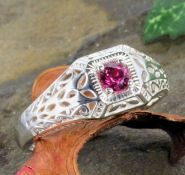 Art Deco Style Sterling Silver Filigree 4.0mm Round Stone Ring Setting
