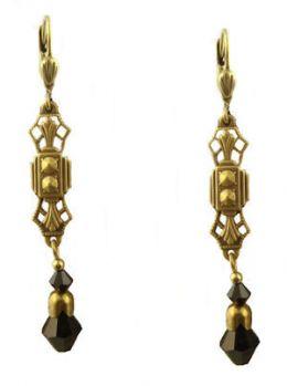Art Deco Style Filigree & Onyx Swarovski Crystal Drop Earrings