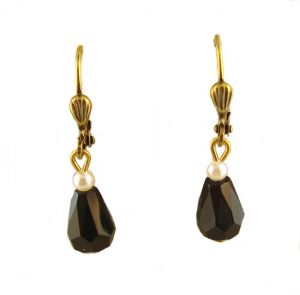 Vintage Style Austrian Jet Black Crystal & Faux Pearl Drop Earrings