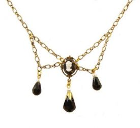 Victorian Style Cameo & Jet Austrian Crystal Festoon Necklace