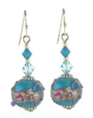 Blue Vintage Venetian Wedding Cake Bead & Crystal Dangle Earrings