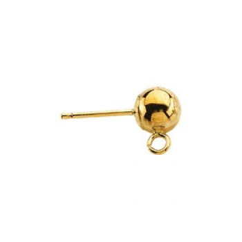 14k Gold Ball On Post with Ring Stud Earrings