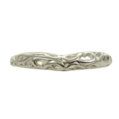 Antique Style 3mm Wide Filigree Curved Wedding Band | Sterling Silver