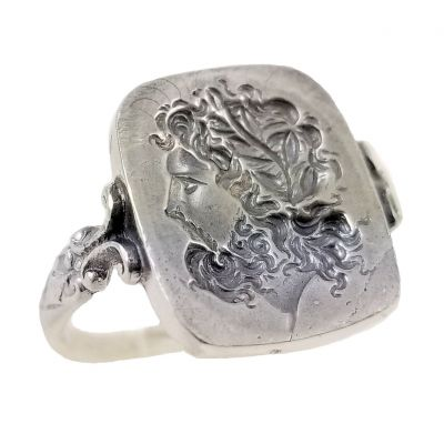 Neoclassical God Zeus Intaglio Seal Ring in Sterling Silver