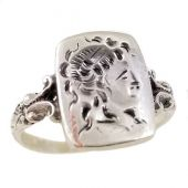 Neoclassical Goddess Diana Intaglio Seal Ring in Sterling Silver