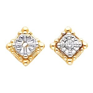 14k Two Tone Art Deco Style Boxed Shaped Earring Settings - 2.2mm Round Stones