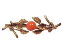 Antique Gold Filled Button Coral Branch Brooch