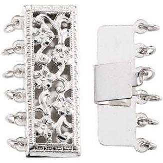 Sterling Silver Multi Strand Floral Filigree Pearl Clasp
