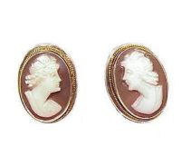 Vintage 800 Silver Shell Cameo Earrings