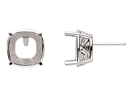Vintage Style Sterling Silver Laurel Scroll Earring Settings For Antique Cut Square Cushion Stone
