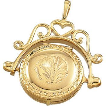 14k Yellow Gold Antique Style Engraved Spinner Locket