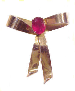 Vintage 1950's Retro Sterling Vermeil Red Stone Bow Brooch