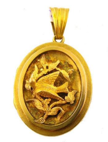 Victorian 14k Locket with Swallow Bird on Branch