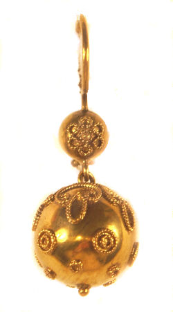 15k Yellow Gold Victorian Etruscan Revival Style Dangle Ball Earrings