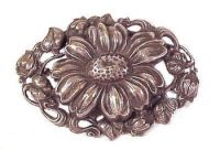 Vintage Large Silver Plated Repouse Chrysanthemum Brooch