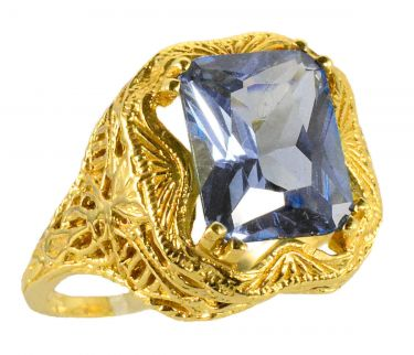 14k Yellow Gold Antique Style Filigree Imit. Aquamarine Ring