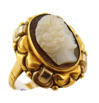 Vintage 14k Two Tone Onyx Cameo Ring