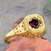 18k Yellow Gold Antique Style Filigree .65ct Mozambique Garnet & Rose Cut Diamond Ring