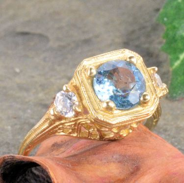 14k Yellow Gold Vintage Style Filigree .95cttw Aquamarine & Diamond Ring