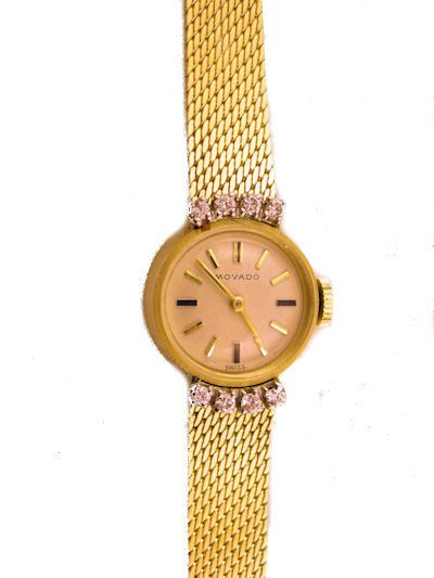 Vintage 14k Yellow Gold & Diamond Ladies Movado Wrist Watch