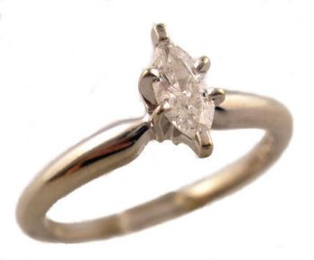 Estate 14k White Gold .25ct Marquise Diamond Solitaire Engagement Ring