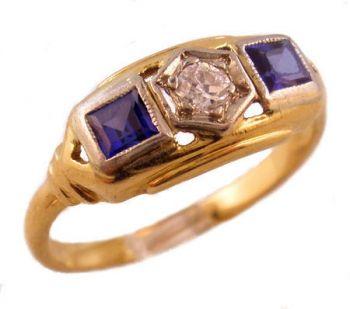 14k TT Gold Art Deco Filigree Synthetic Sapphire & .10ct European Cut Diamond Engagement Ring
