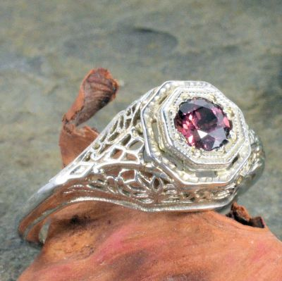 14k White Gold Antique Style Filigree .50ct Rhodolite Garnet Ring