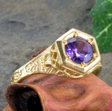 14k Yellow Gold Antique Style Filigree 1.00ct Amethyst Ring
