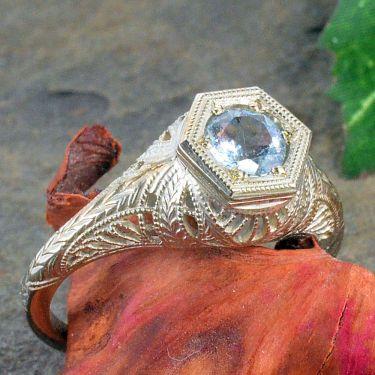 18k White Gold Antique Style Filigree .45ct Aquamarine Ring