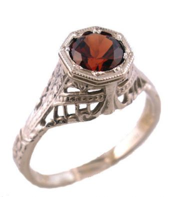 18k White Gold Vintage Style Filigree Mozambique Garnet Ring