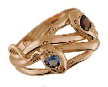 Gents Victorian Style 14k Rose Gold Garnet & Sapphire Intertwined Snake Ring